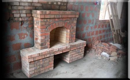 Камин встроенный в стену