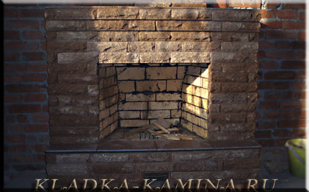Фото каминов из рванного кирпича и мрамора