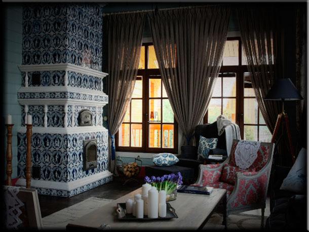 Интерьер гостиной с камином отделка изразцами