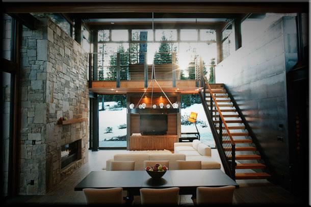 Интерьер гостиной с камином в стиле модернк