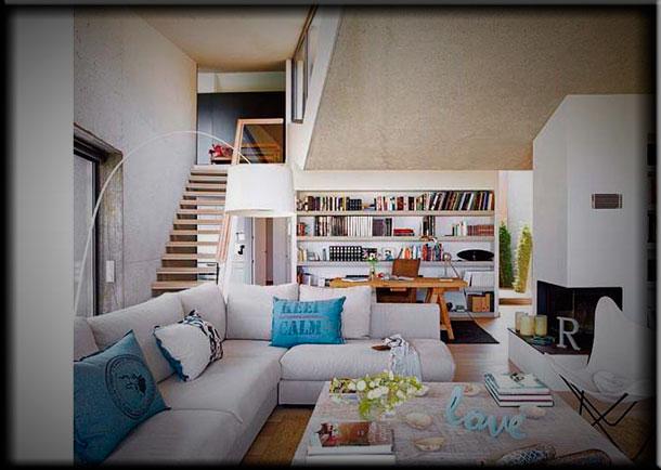 Интерьер гостиной с камином в стиле модерн