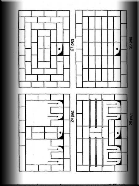 Схема кладки двухкамерной коптильни
