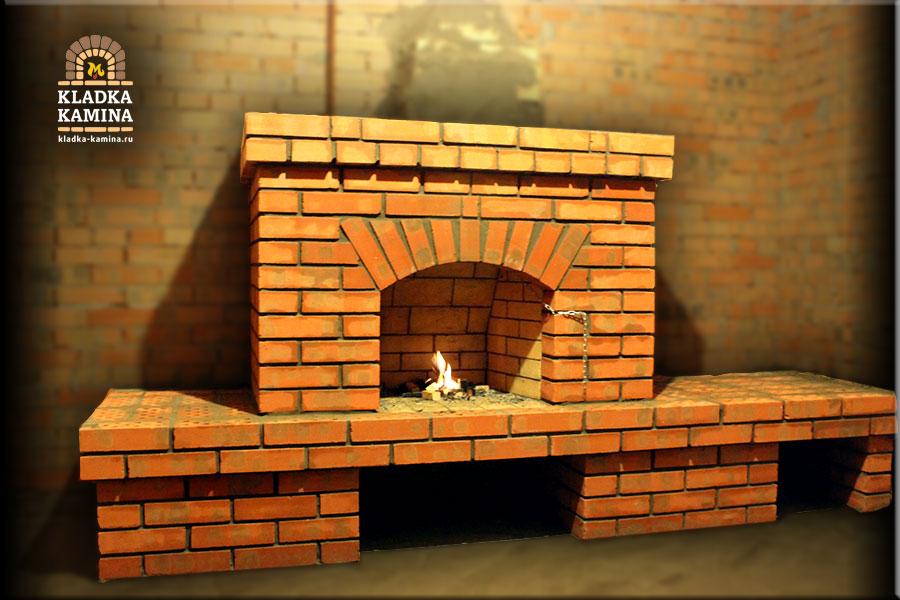 фото арок кирпича на камине
