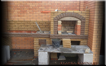 Подгонка кирпича по арке