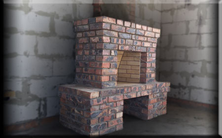 Камин с широким дымоходом