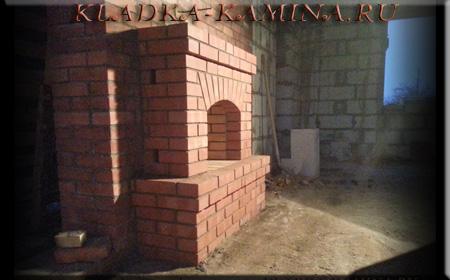 Камин из красного кирпича для гостиной фото