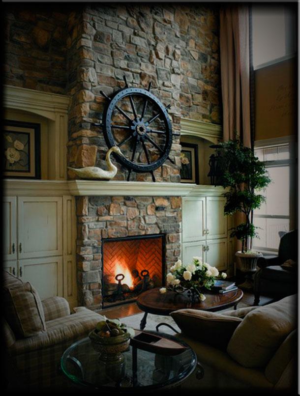 Интерьер гостиной с камином отделка камнем