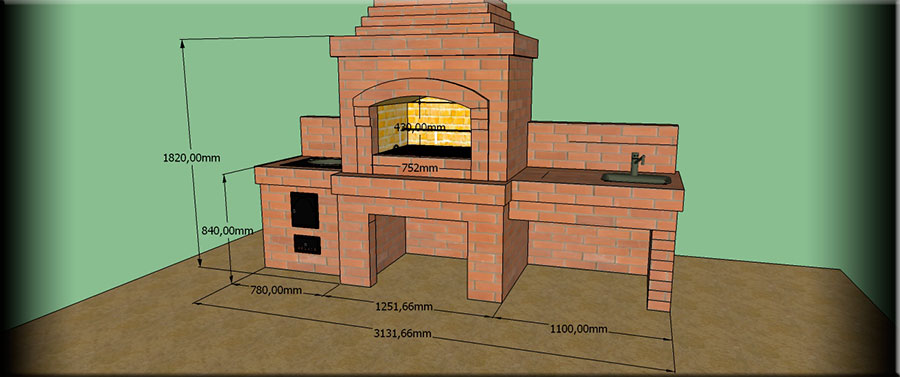 Размеры барбекю из кирпича grand portal электрические камины