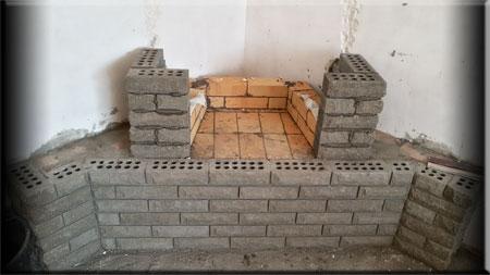 Огеупорная кладка   углового  камина